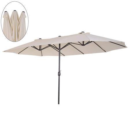 Sonnenschirm Oval L460 x B270 mit Handkurbel - creme
