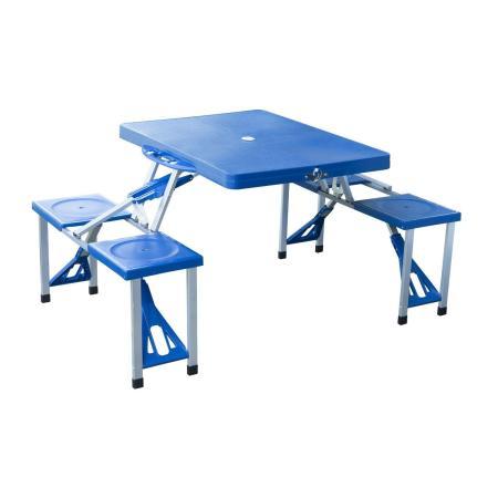 Alu Campingtisch Picknick 4-Sitzer klappbar Blau