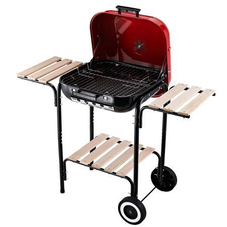 Holzkohlegrill Grillwagen Terrassen BBQ mit Ablageflächen