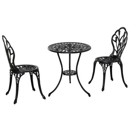 3tlg. Balkonset Alu schwarz 2x Gartenstuhl und 1x Gartentisch