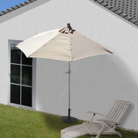 Alu-Sonnenschirm halbrund Parla ~ 270cm creme mit Ständer