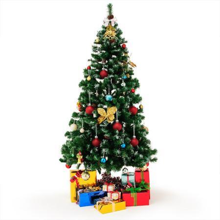Weihnachtsbaum 180cm mit Schnee + Tannenzapfen + Ständer