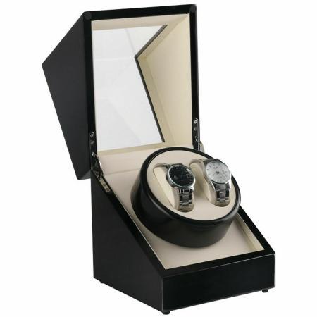 Uhrenbeweger für 2 Uhren Holz schwarz