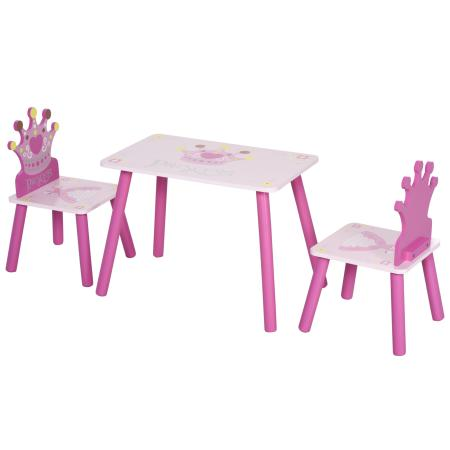 3-tlg. Kindersitzgruppe mit 1 Kindertisch 2 Stühle Rosa