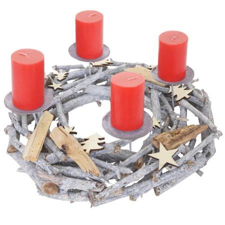 Adventskranz Weihnachtsdeko Ø 40cm Kerzen rot