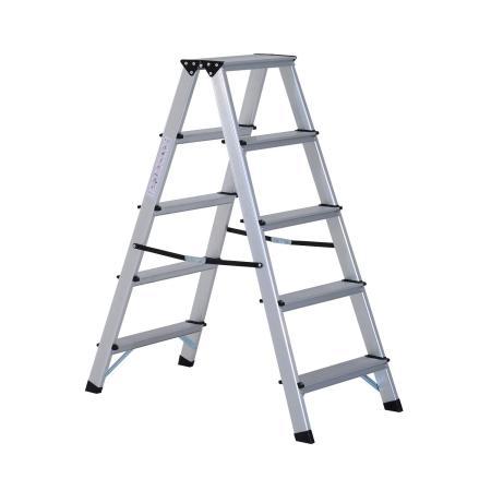 Alu Trittleiter 2 x 5 Stufen Leiter Rutschfest 88 x 45 x 103 cm