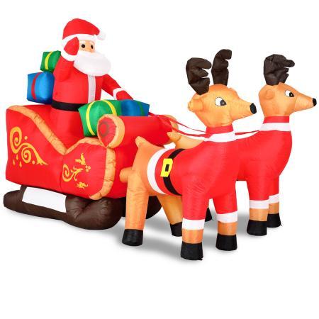 Aufblasbarer Weihnachtsmann Schlitten beleuchtet XXL