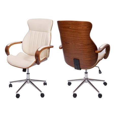 Bürostuhl Schreibtischstuhl Bugholz ~ creme