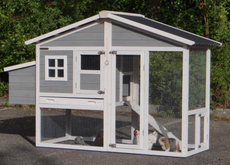 Hühnerstall 3 -4 Hühner Niels Kunststoff Dach und Auslauf