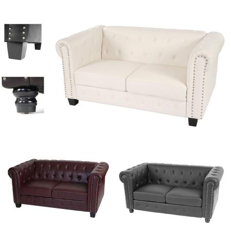 Chesterfield Lounge 2er Sofa Couch ~ runde Füsse