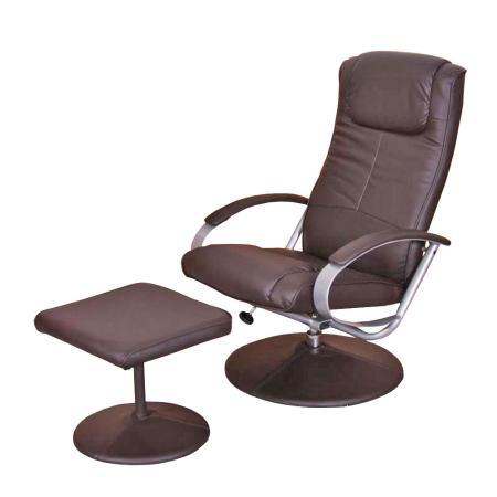 relaxliege relaxsessel fernsehsessel n44 mit hocker braun. Black Bedroom Furniture Sets. Home Design Ideas