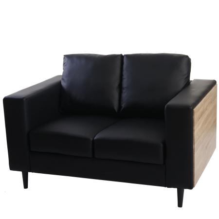2er Sofa Nancy Couch Loungesofa Holz Eiche-Optik ~ schwarz