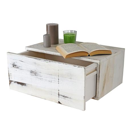 Shabby Chic Wandregal Dinant 21x46x30cm ~ weiss