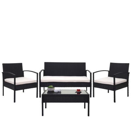 Balkon Sitzgruppe Poly-Rattan 7tlg. Garnitur-Lounge schwarz, Kissen creme