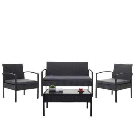 Balkon Sitzgruppe Poly-Rattan 7tlg. Garnitur-Lounge schwarz, Kissen dunkelgrau