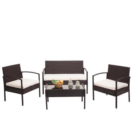 Balkon Sitzgruppe Poly-Rattan 7tlg. Garnitur-Lounge braun, Kissen creme