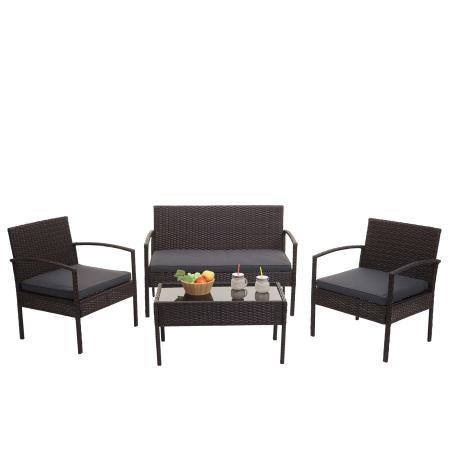 Balkon Sitzgruppe Poly-Rattan 7tlg. Garnitur-Lounge braun, Kissen dunkelgrau