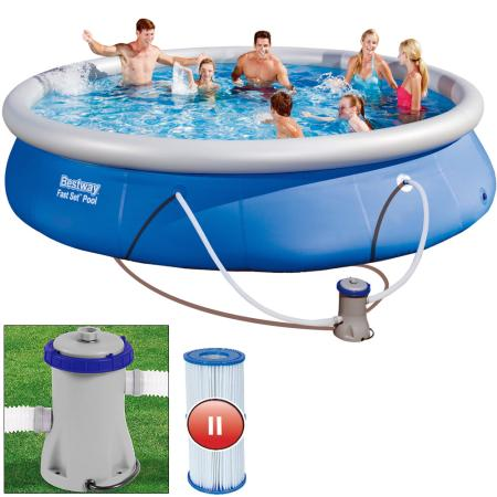 Swimming Pool Set Bestway inkl. Filterpumpe ~ Ø4.57m