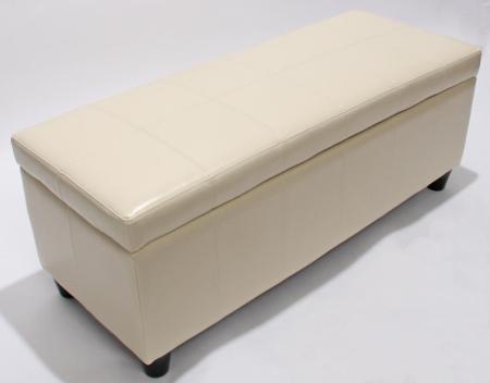bank mit aufbewahrung kriens leder 112x45x45cm creme. Black Bedroom Furniture Sets. Home Design Ideas