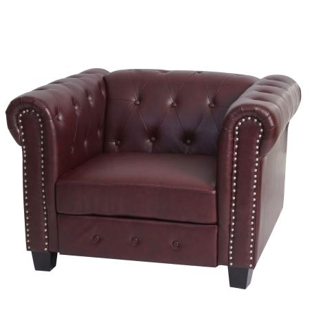 Chesterfield Lounge Sessel ~ eckige Füsse rot-braun