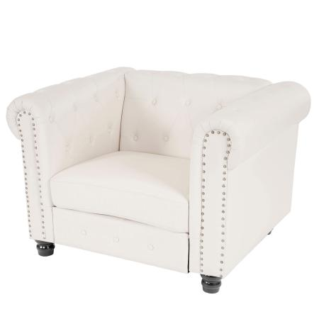 Chesterfield Lounge Sessel ~ runde Füsse weiss