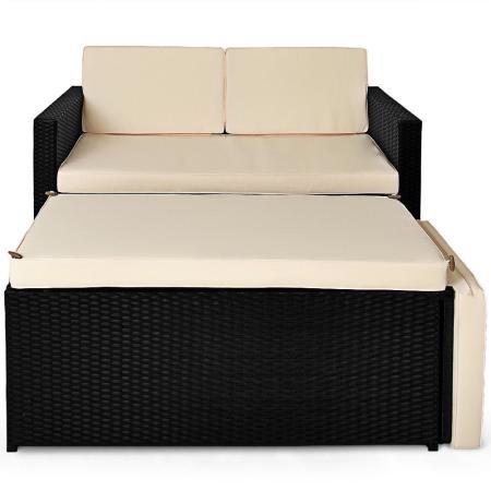 polyrattan lounge sitzgarnitur sofa ottomane mit. Black Bedroom Furniture Sets. Home Design Ideas