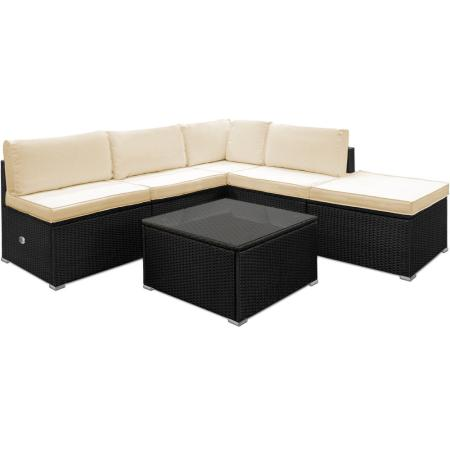 polyrattan lounge set aus leichtem aluminium. Black Bedroom Furniture Sets. Home Design Ideas