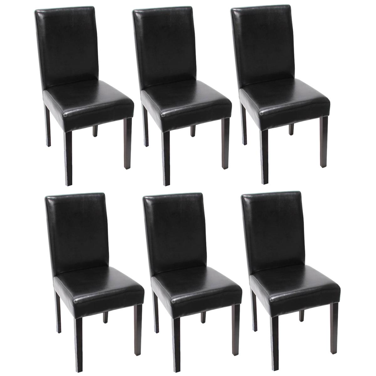 6x esszimmerstuhl littau leder schwarz dunkle beine. Black Bedroom Furniture Sets. Home Design Ideas