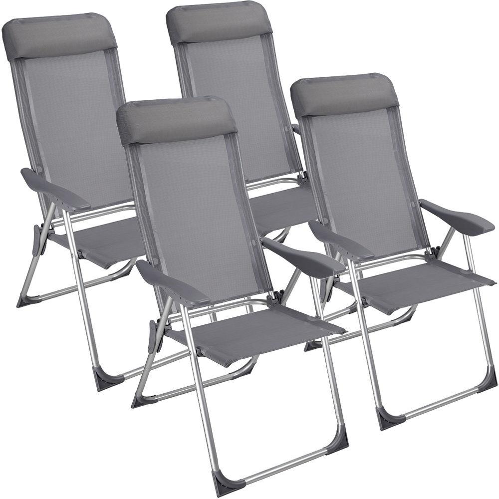 4x alu gartenstuhl hochlehner campingstuhl. Black Bedroom Furniture Sets. Home Design Ideas
