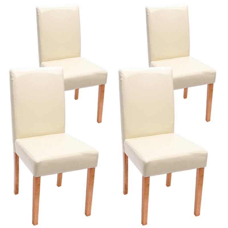 4x esszimmerstuhl littau leder creme helle beine. Black Bedroom Furniture Sets. Home Design Ideas