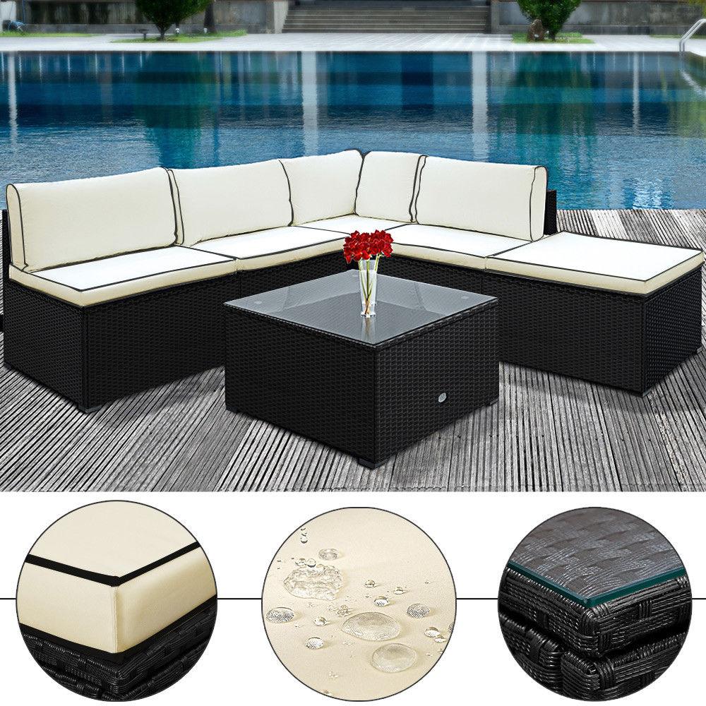 Polyrattan garten lounge sitzgruppe schwarz creme for Rattan lounge sofa garten