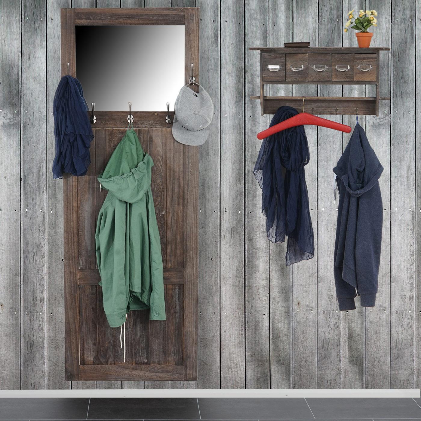 shabby garderobe mit spiegel vintage weiss. Black Bedroom Furniture Sets. Home Design Ideas