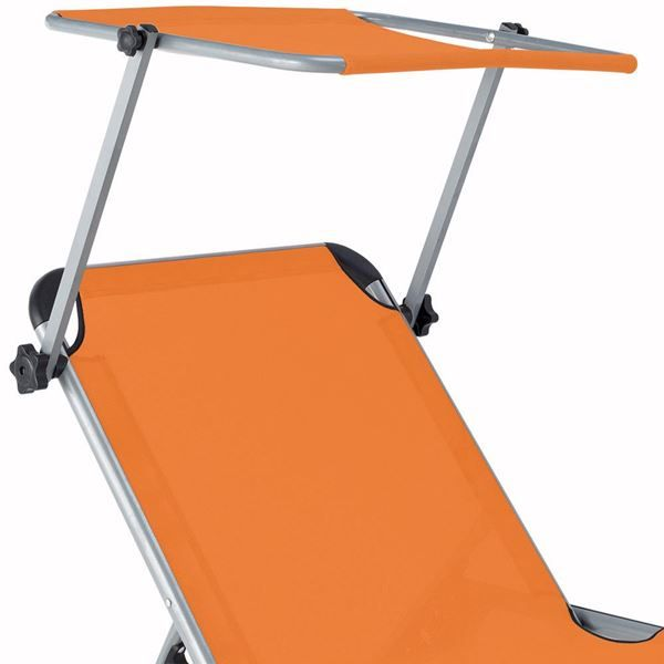 Liegestuhl Alu mit Sonnendach Sylt ~ orange Jamb ch