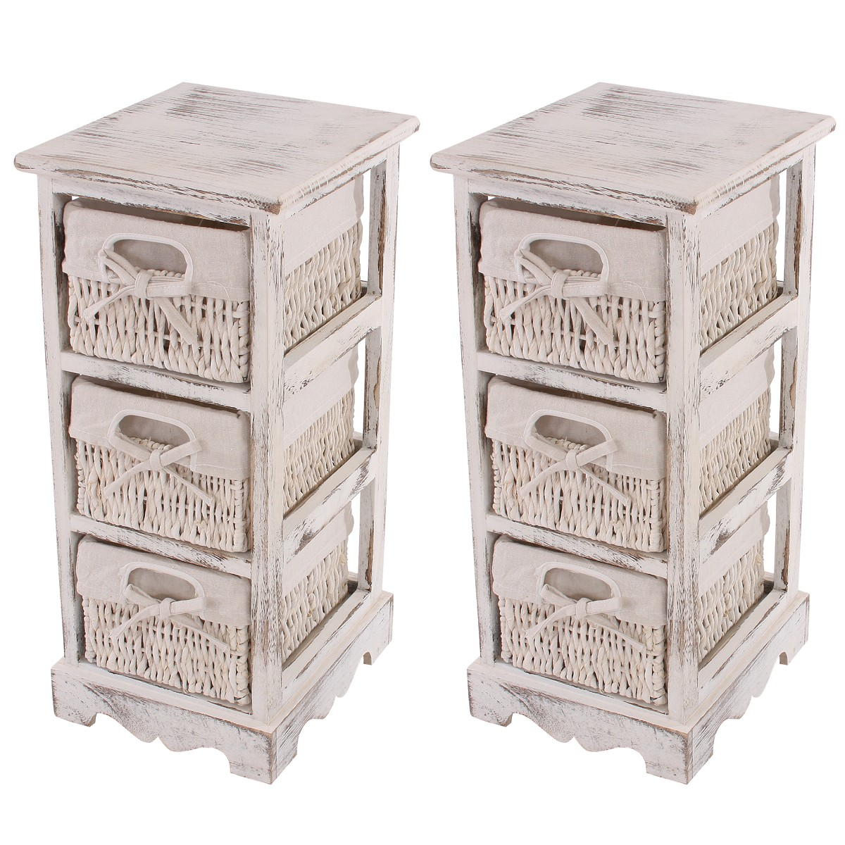 2x shabby kommode 3 schubladen weiss. Black Bedroom Furniture Sets. Home Design Ideas