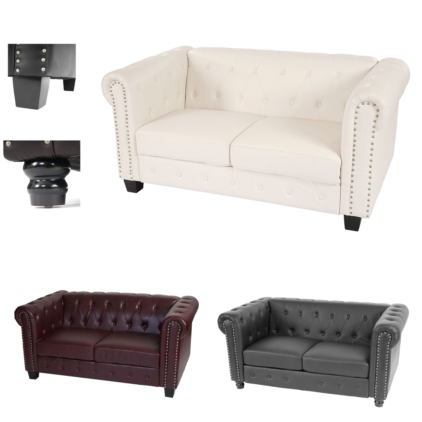 Chesterfield Lounge 2er Sofa Couch Runde Füsse Jambch