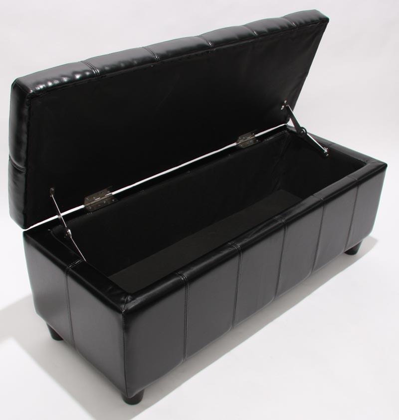 sitzbank mit aufbewahrung kriens leder 112x45x45cm schwarz. Black Bedroom Furniture Sets. Home Design Ideas