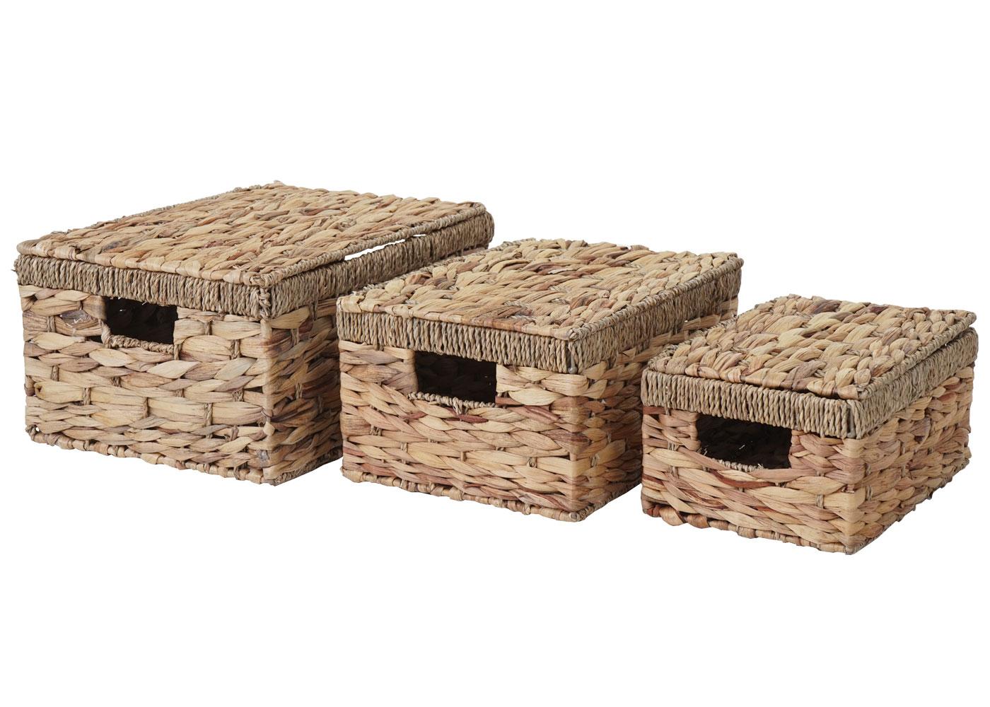 3er Set Korb Aufbewahrungsbox Mit Deckel