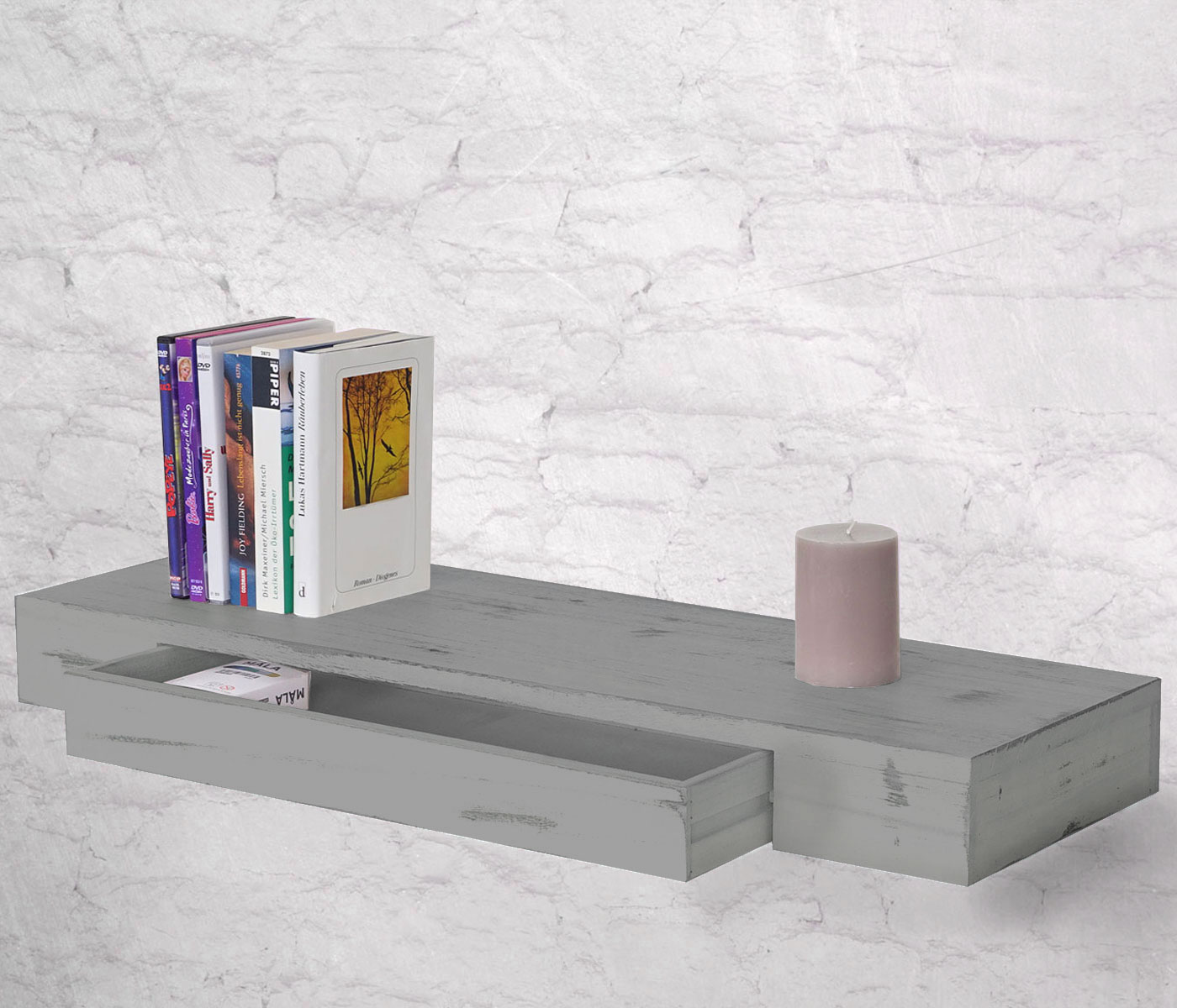 shabby wandregal oise 80cm schublade grau. Black Bedroom Furniture Sets. Home Design Ideas