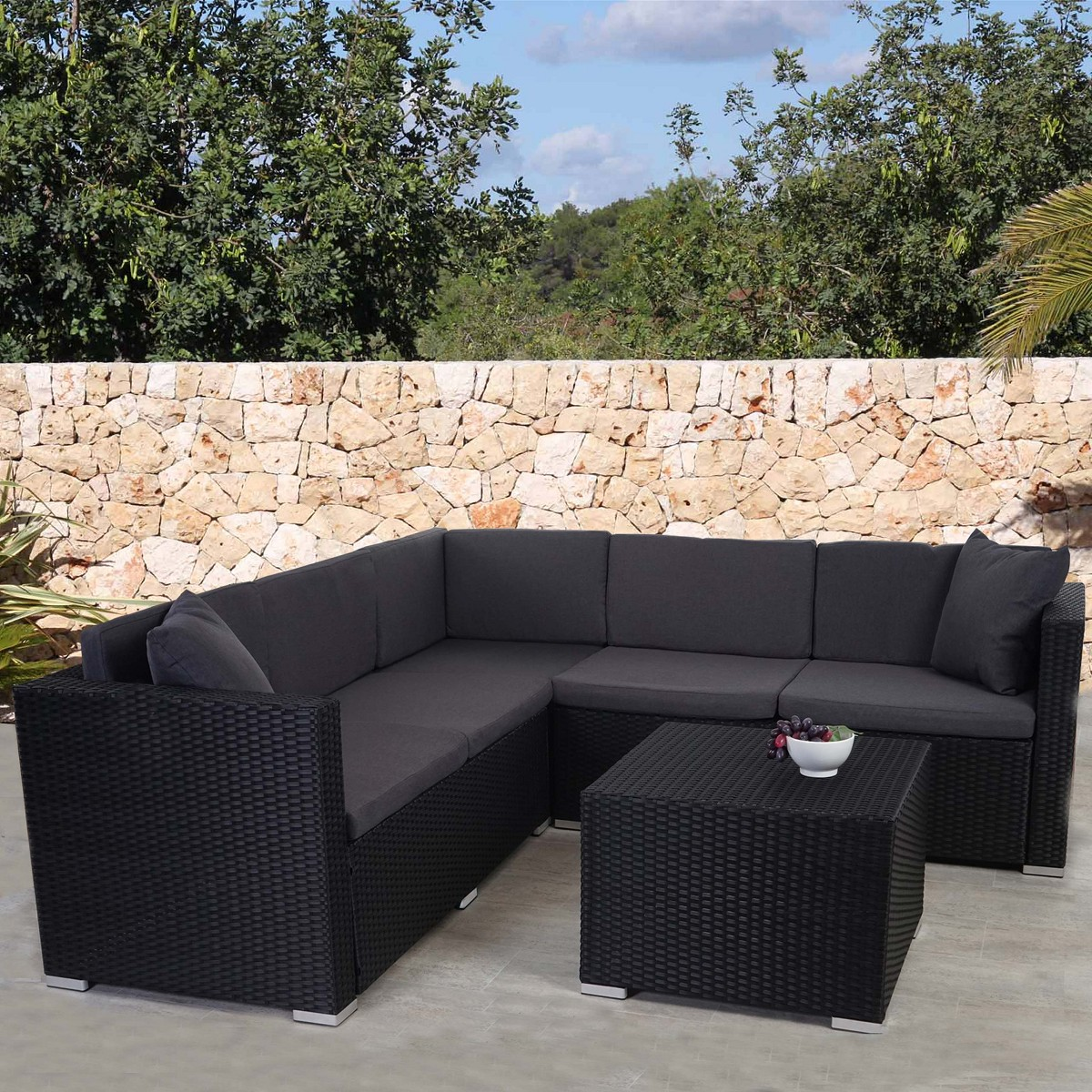 poly rattan rom basic sitzgruppe lounge set stahl anthrazit. Black Bedroom Furniture Sets. Home Design Ideas