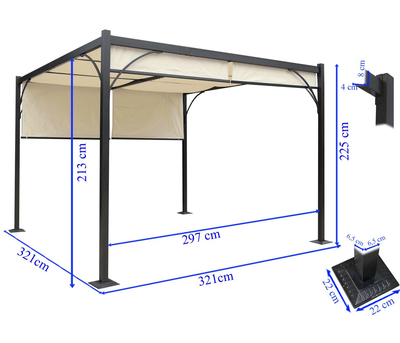 pergola granada alu garten pavillon 3x3m. Black Bedroom Furniture Sets. Home Design Ideas