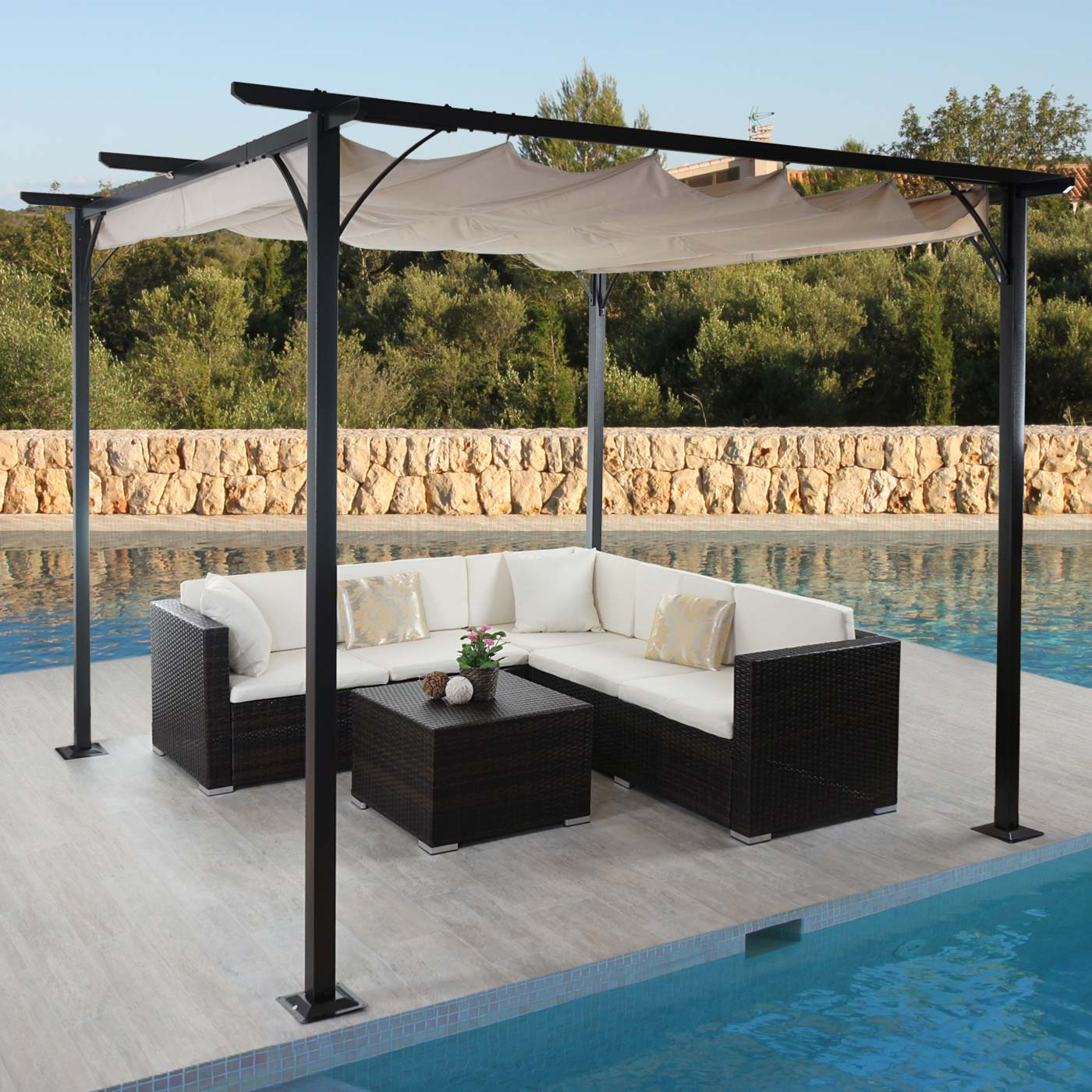 pergola avila garten pavillon 3x3m creme. Black Bedroom Furniture Sets. Home Design Ideas