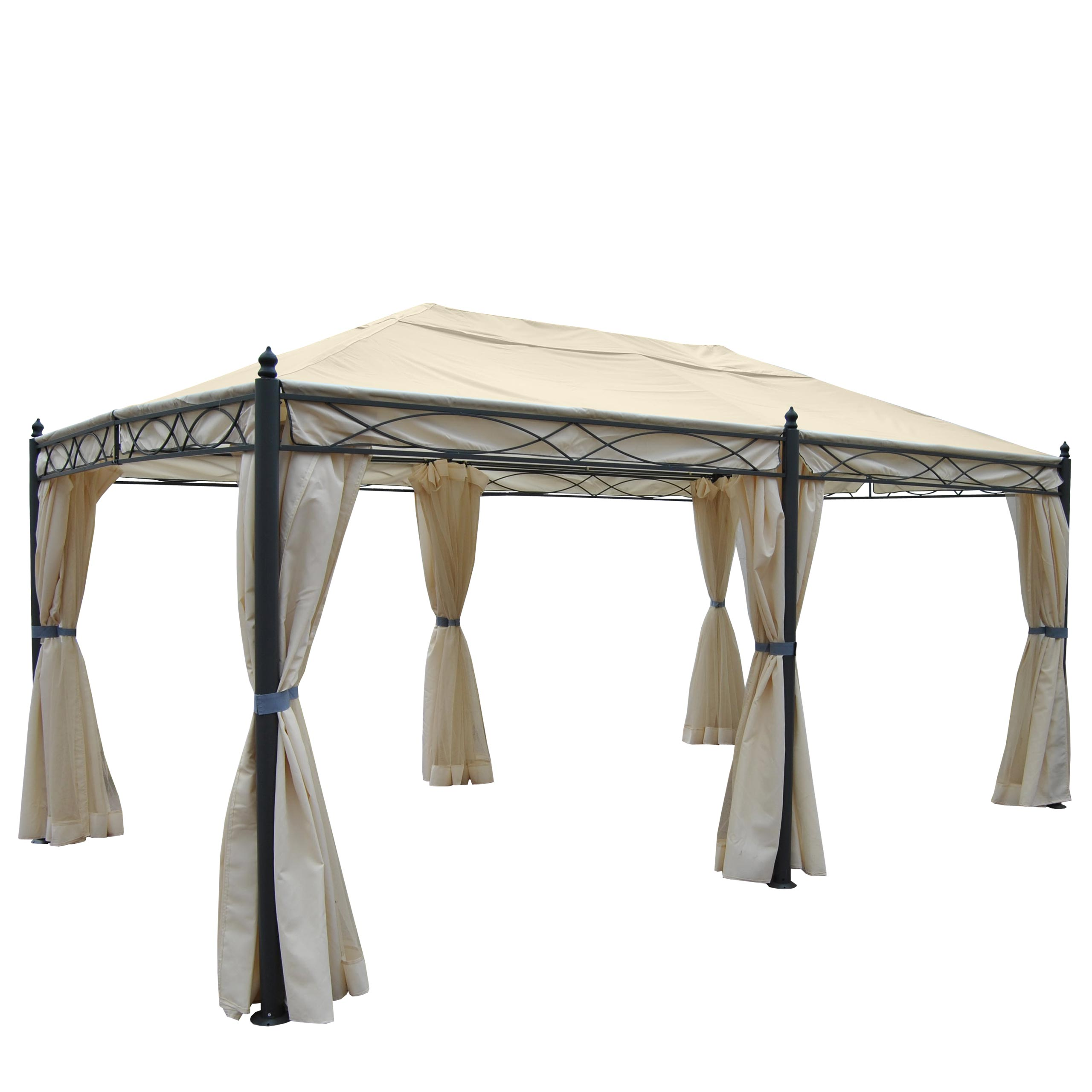 pergola cadiz 5x3m garten pavillon mit moskitonetz creme. Black Bedroom Furniture Sets. Home Design Ideas