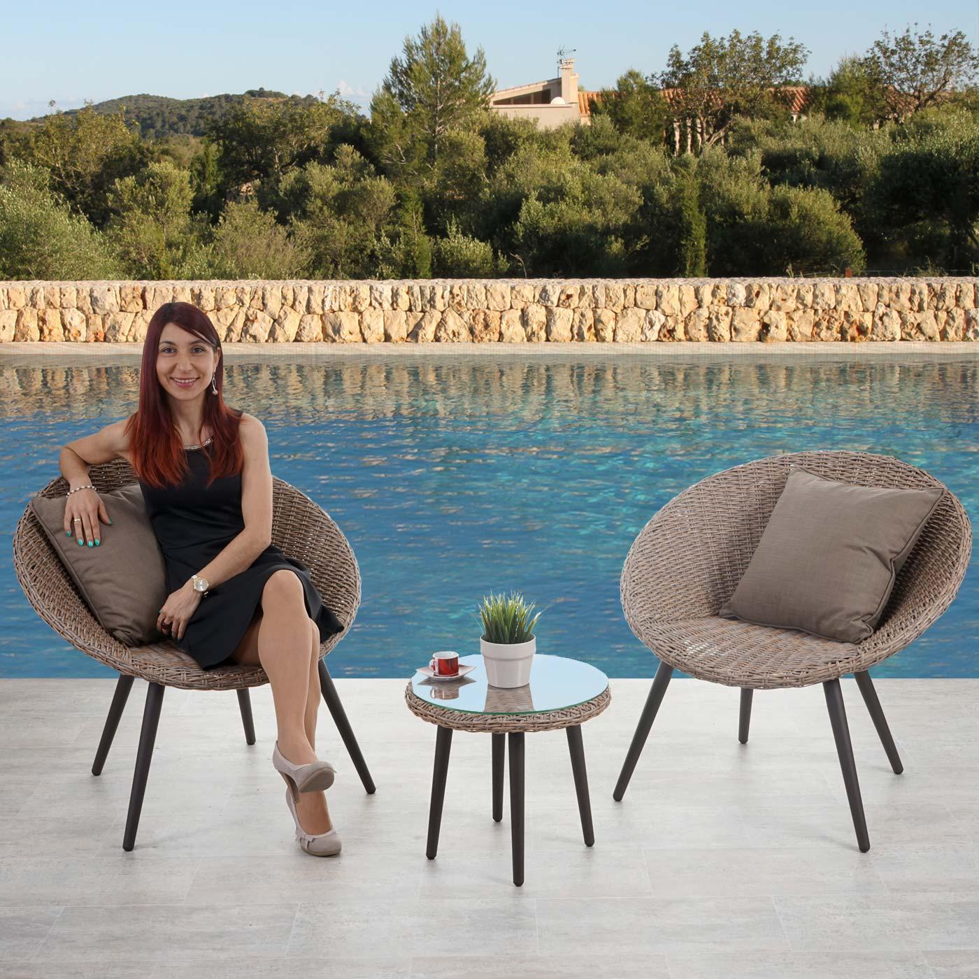 luxus poly rattan lounge madrid alu gestell braun. Black Bedroom Furniture Sets. Home Design Ideas