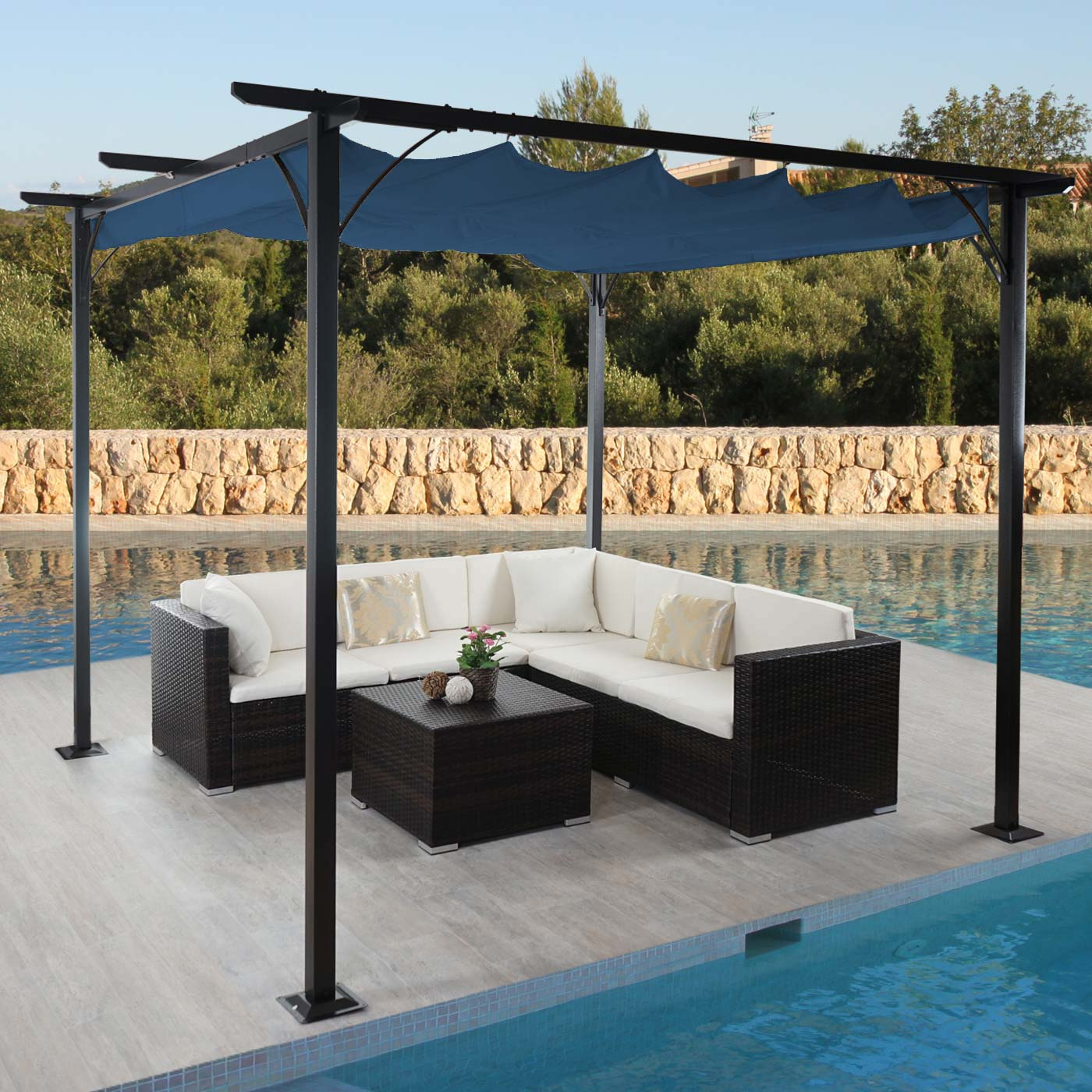 pergola avila garten pavillon 3x3m blau. Black Bedroom Furniture Sets. Home Design Ideas