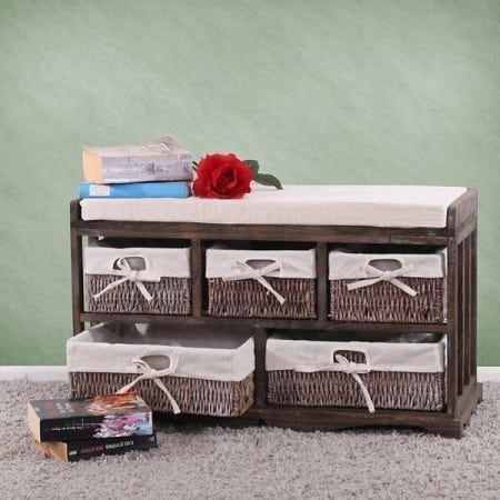 shabby chic sitzbank 5 schubladen. Black Bedroom Furniture Sets. Home Design Ideas