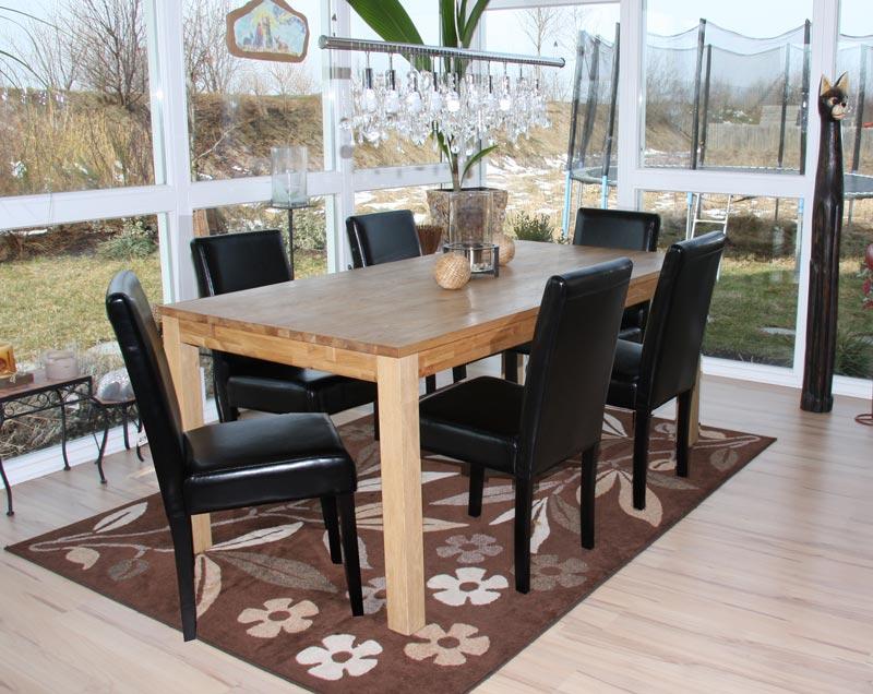 4x esszimmerstuhl littau leder schwarz dunkle beine. Black Bedroom Furniture Sets. Home Design Ideas