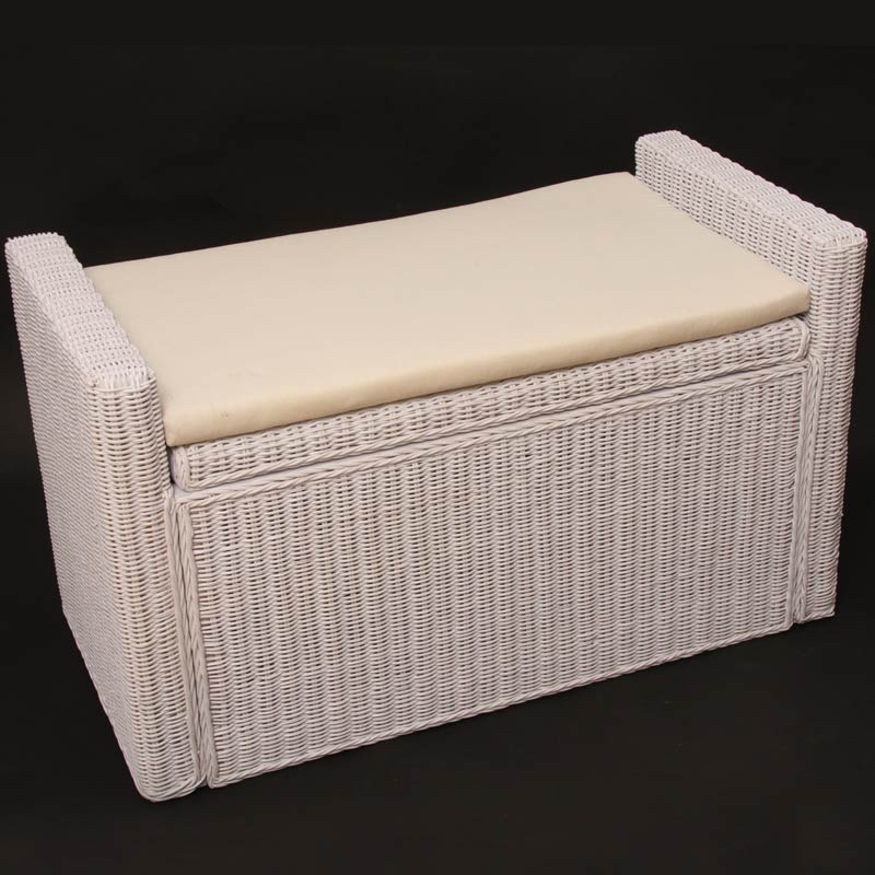 sitzbank rattan mit stauraum und kissen 88cm weiss. Black Bedroom Furniture Sets. Home Design Ideas
