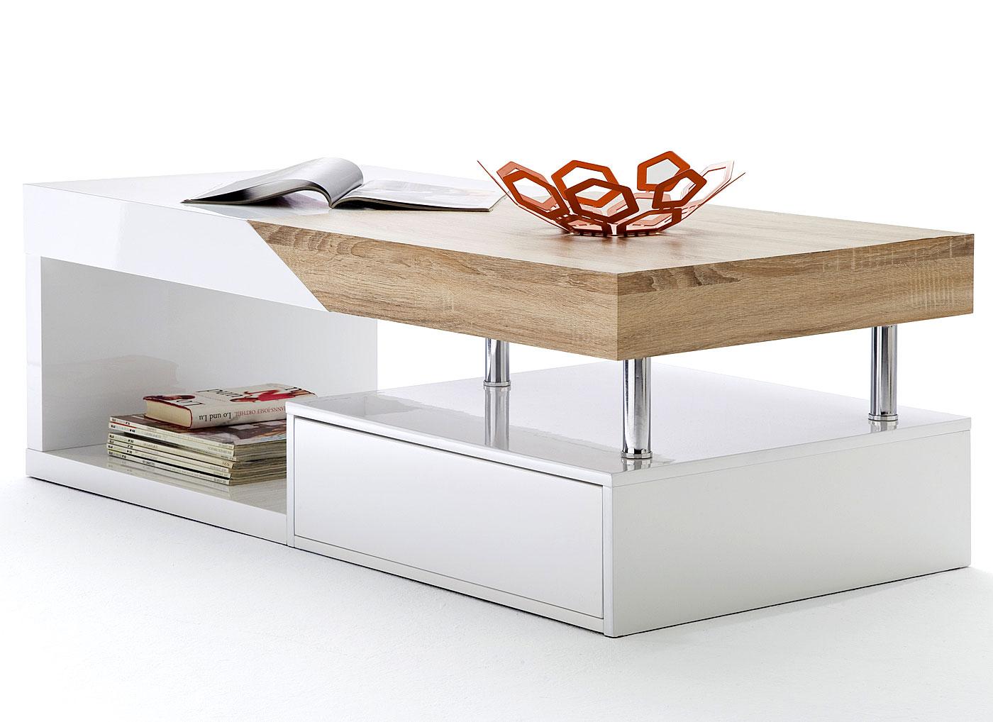 mca couchtisch hope hochglanz weiss ausziehbar eiche. Black Bedroom Furniture Sets. Home Design Ideas