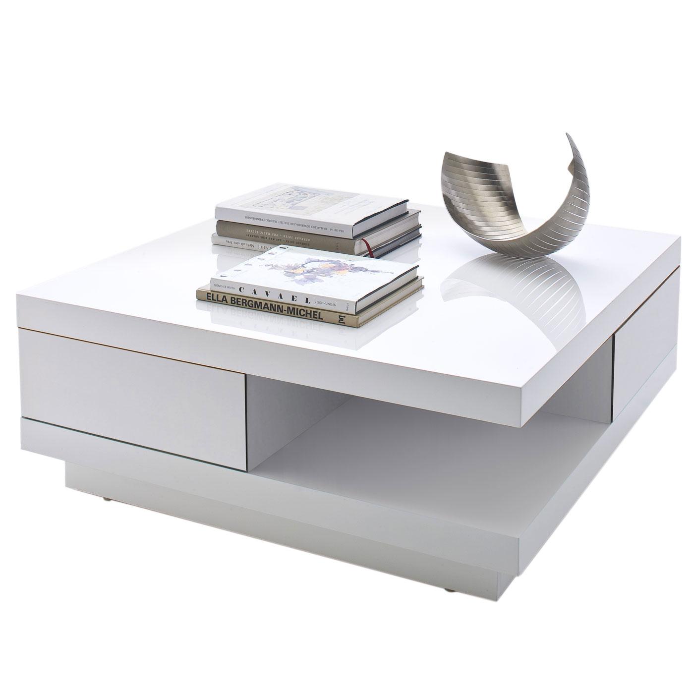 mca couchtisch abby hochglanz weiss mit schubladen. Black Bedroom Furniture Sets. Home Design Ideas