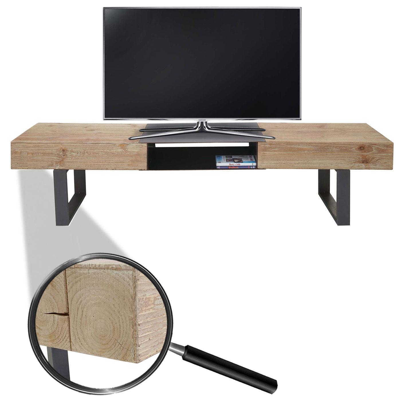 TV Rack HWC Fernsehtisch, Tanne Holz 46x180x41cm